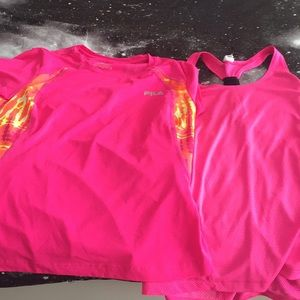 Two hot pink gym shirts